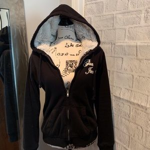 Guess Faux Fur Lined Hoodie Size Large